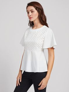 SheIn offers Lace Crochet Overlay Bell Sleeve Peplum Top & more to fit your fashionable needs. Tops Peplum, Dress Sites, Bell Sleeves, Bell Sleeve Top, White Shirts, Shirt Blouses, Blouse Designs, Ruffle Blouse, Stylish