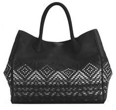 ISABELLA FIORE  Basket weave tote w/ patent accents  Style Number: 121062H
