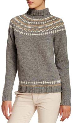 Gant XS By Michael Bastian Wool Fairisle Turtleneck ~new Grey Sweater Michael Bastian, Casual Wear Women, Nordic Design, Cute Sweaters, Grey Sweater, Turtle Neck, Pullover, Wool, Long Sleeve
