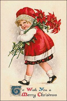 Little Girl with Red Poinsettias