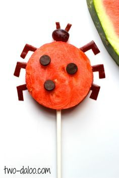 "Watermelon Ladybug ""Lollipops""- a fun and easy snack perfect for summer by Twodaloo!"