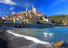 Stretched Canvas Print: View of the Medieval Old Town of Cervo, Province of Imperia, Liguria, Italy : Cinque Terre Italy, Italy Art, Painting Edges, Toscana, Stretched Canvas Prints, Italy Travel, Old Town, Original Image, Travel Destinations