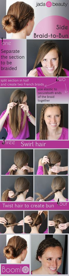 LOVE! Can't wait to try this one   Side Braid-to-Bun Tutorial