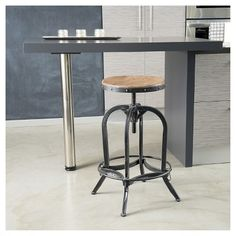 Add a rustic look to your war with the Backless Weathered Oak Bar Stool. With a strong metal frame and an adjustable seat height, your find our Dempsey bar stool a versatile addition to your bar. Metal Bar Stools, Counter Bar Stools, Swivel Bar Stools, Coffee Counter, Island Stools, Swivel Chair, Deco Originale, Adjustable Bar Stools, Dining Room Bar