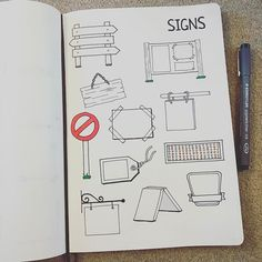 @therevisionguide Signs for this weeks drawing challenge... different shapes, sizes & types! #revisionguide_52wvv #52wvv_week15 #doodles #sketching #cartoons #sketchnotes #visualthinking #leuchtturm1917 #copicmarkers #kurecolor #graphgear1000