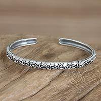Men's sterling silver cuff bracelet, 'Temple Wall'