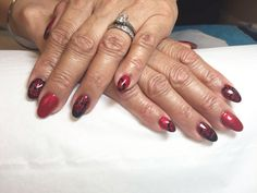 """Valentine's nails  CND Shellac """"Tartan punk"""" With MoYou stamping in black on accent nails, done with CND Retention acrylics."""