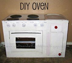 How to Make a Cardboard Kitchen for kids   I made this Cardboard Play Kitchen for my son a couple years ago.  It is relatively simple to make yourself and inexpensive. I started by opening the box so that it laid flat & then painted the side without any printing on it with white paint. …