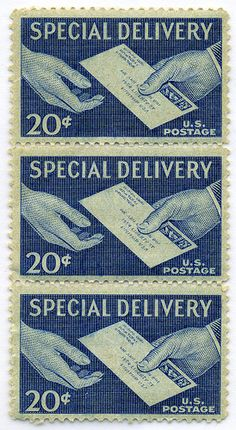 special delivery postage: http://www.flickr.com/photos/13166455@N05/3061808518