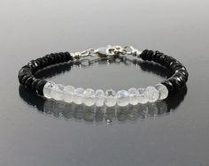 Moonstone and black spinel bracelet Layering jewelry Black gemstone bracelet…