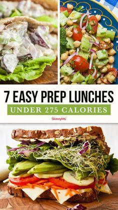 Trying to avoid fast food temptation? Perhaps mix up a ho-hum low-cal lunch menu? We've got 7 easy-prep lunches under 275 calories for you. Clean Eating Recipes, Lunch Recipes, Vegetarian Recipes, Healthy Eating, Cooking Recipes, Healthy Recipes, Dinner Recipes, Healthy Salads, Low Calorie Lunches