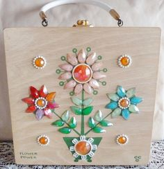 Vintage Mod Enid Collins Jeweled Flower Power Wood Box Bag Purse Signed Original Very Good Condition. $74.00, via Etsy.