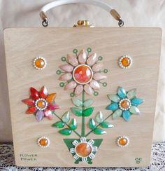 Enid Collins Flower Power Wood Box Bag