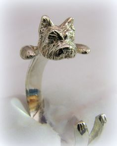 Silver Yorkie ring by Minicsiga on Etsy