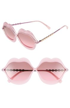 These pink lip-shaped frames provide a fresh, playful upgrade to glamorous sunglasses.
