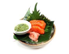 Salmon Sashimi - Best bits of Scottish Salmon fillet, skillfully sliced - served with kizami Wasabi
