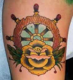 ship wheel + rose