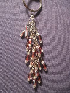 Blue and Red Czech Fire Polished Glass  Bead Purse Charm / Key Chain by FoxyFundanglesByCori, $10.00