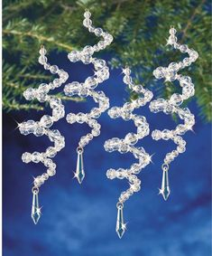 beaded christmas ornaments The Beadery Crystal Spirals Beaded Christmas Ornament Kit. Beautiful beaded Christmas ornament kits from The Beadery Craft Products feature an assortment of bea Beaded Christmas Decorations, Beaded Ornaments, Diy Christmas Ornaments, Homemade Christmas, Holiday Crafts, Christmas Christmas, Simple Christmas, Diy Icicle Ornaments, Beaded Crafts