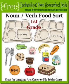 Noun / Verb Food Sort - This activity was intended for 1st Grade, but can be adapted for K-2nd graders. There are also additional sheets for Tots and Preschoolers to make it fun for the whole family.