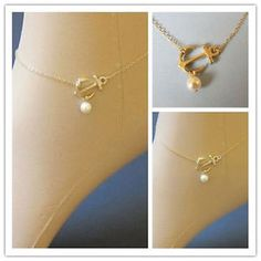 Celebrity Anchor Pearl Bead Charm Gold Anklet Bracelet Foot Chain Jewelry