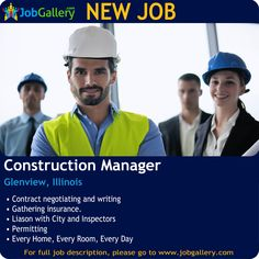 SEEKING A CONSTRUCTION MANAGER IN GLENVIEW, ILLINOIS  #Job #NewJob #Jobs #Trending #JobOpportunity  #jobgallery #constructionworker #ConstructionJobs #GeneralJobs #EngineerJobs #IllinoisJobs #Glenview #Illinois