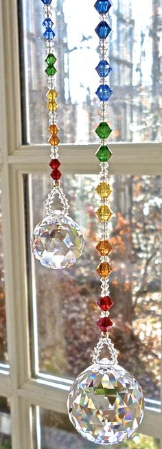 Swarovski Car Ornament, Prism, Crystal Ball with Chakra-Colored… - Wohninspiration - Ornaments Swarovski Crystal Beads, Crystal Ball, Glass Bead Crafts, Beaded Spiders, Chakra Colors, Car Ornaments, Crystal Snowflakes, Mobiles, Rear View Mirror