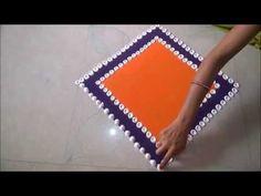 Super Easy and Creative Multicolored Rangoli Designs# Innovative Rangoli by Shital Mahajan. Indian Rangoli Designs, Rangoli Border Designs, Small Rangoli Design, Rangoli Designs Images, Rangoli Designs With Dots, Beautiful Rangoli Designs, Easy Diwali Rangoli, Rangoli Simple, Rangoli Ideas