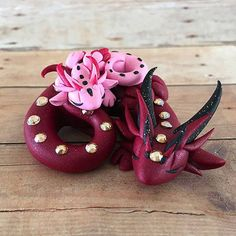 Red and Pink Mama/Baby Dragon by DragonsAndBeasties on Etsy
