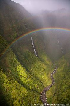 Rainbow and Waterfalls,Kauai, Hawaii  so many rainbows.. so many waterfalls.. Kauai is the Rainbow Connection - so breathtakingly beautiful of raw nature untouched by man ever.