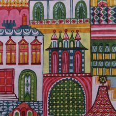 Manufacturer: Alexander Henry (7620B)  Designer: Alexander Henry House Designer  Collection: Zhivago  Print Name: Village in Aubergine