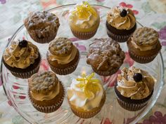 Brown sugar cupcakes with a chocolate chip cookie on top, Lemon scented cupcakes, double mocha cupcakes