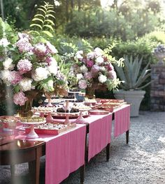 table setting in pink