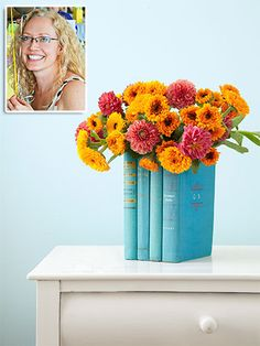Learn to make this clever vessel, Candice cut out the covers and pages of the inside books