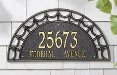 """Whitehall Federal Light 2 Line Wall Plaque (1790) by Whitehall Products. $188.99. Personalized Federal Light Two Line Wall Plaque - 24"""" x 12"""" x 0.5"""" - Made in USA from rust-free, cast aluminum - Weather-resistant finish for a lifetime of outdoor use - Customization: Line 1 - Five 4"""" characters, Line 2 - Sixteen 1.5"""" characters"""