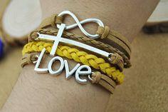 Fashion flocking leather bracelet Love & Cross by DavidBracelets, $5.50