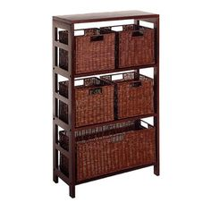Winsome Wood Leo Wood 4 Tier Shelf with 5 Rattan Baskets - 1 large; 4 small in Espresso Finish Three sectioned wide wood shelf plus one large and 4 small Storage Cabinet With Baskets, 5 Drawer Storage, Wood Storage Shelves, Basket Shelves, Basket Storage, Small Storage, Storage Ideas, Storage Chest, Bathroom Storage