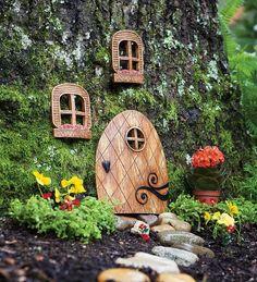 """Fairy Garden Elf Door and Windows @ Plowhearth.com  Door 8""""Hx7""""Wx3/4""""D $12.95 Window (2) 4-1/4""""Hx3-1/4""""Wx1/2""""D $12.95"""