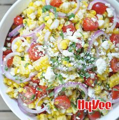 Wanna make this Grilled Corn, Sweet Onion and Tomato Salad vegan friendly? Omit the cheese. Easy as that. Serve it on the side and everyone is happy.