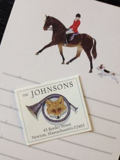 """Coming Soon! New notepads & new imagery for our Return Address Labels - The fox & horn is called """"The Game"""""""