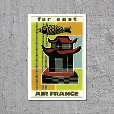 Far East - Air France - 1959 - Artist: Guy Georget - Vintage Travel Tourism Poster // High Quality Fine Art Reproduction Giclée Print by TheRetroPoster on Etsy