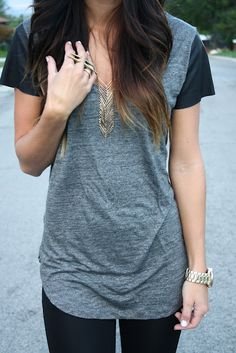 Tee with leather sleeves!