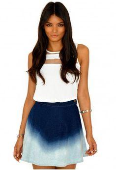 #missguidedus.com         #Skirt                    #Missguided #Estrella #Ombre #Denim #Skater #Skirt  Missguided - Estrella Ombre Denim Skater Skirt                                http://www.seapai.com/product.aspx?PID=1026405