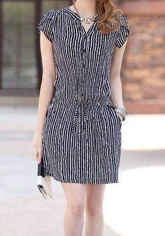 Vertical Stripe Casual V-Neck Single Breasted Short Sleeve Dress For Women Trendy Dresses, Simple Dresses, Cute Dresses, Casual Dresses, Fashion Dresses, Short Sleeve Dresses, Dresses With Sleeves, Summer Dresses, Dresses 2014