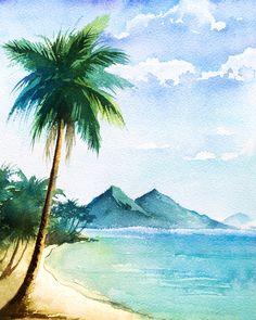 Beach Watercolor, Watercolor Landscape Paintings, Watercolor Trees, Watercolor Landscape Tutorial, Watercolour Art, Beach Drawing, Beach Pink, Summer Beach, Scenery Paintings