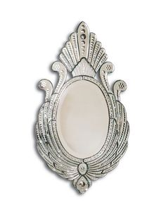 Hand cut and etched shaped Venetian glass mirror frame. - LM1975