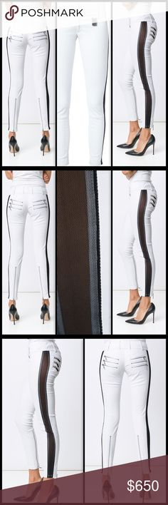 THOMAS WYLDE ♠️ Sage 💯 Lambskin Leather Pants NWT Exquisite rock royalty 💯 stretch Lambskin leather pants with black mesh insets down the outside of each leg. Heavy duty silver hardware... Zipper pocket and cuff details and TW insignia tag.  Zip fly. Size M - approx. 27. NWT Thomas Wylde Pants Skinny