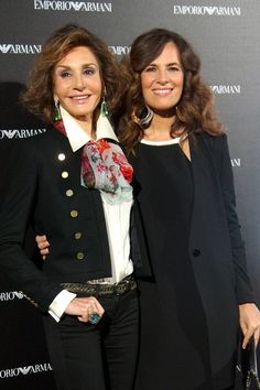 Nati Abascal (L) and Roberta Armani (R) attend the Emporio Armani Boutique opening on April 8, 2013 in Madrid, Spain. (April 7, 2013 - Sour...