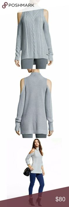 Light Gray Michael Kors Cold Shoulder Knit Sweater MICHAEL Michael Kors cable-knit sweater.  Mock neckline.  Long sleeves;  cold shoulders.  Semi-fitted silhouette.  High-low hem.  Cotton/nylon/viscose. Michael Kors Sweaters