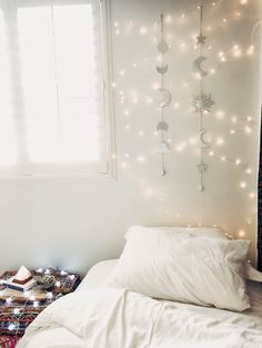 Lady Scorpio | @Ladyscorpio101 ☽☽ ladyscorpio101.com  ☆  Perfect Bedroom Decor for the Hippie at heart  ♡  Alexa Halladay designing a Boho Bungalow -  Tapestry with Copper Fairy Lights!  Including Moon Phase Wall Hangings!